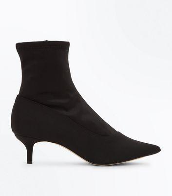 Black Satin Kitten Heel Sock Boots New Look