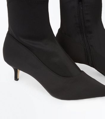 Black Satin Kitten Heel Sock Boots
