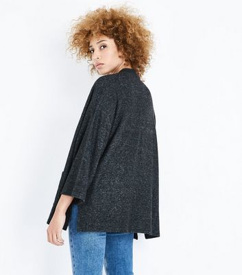 Dark Grey Brushed Knit Kimono New Look