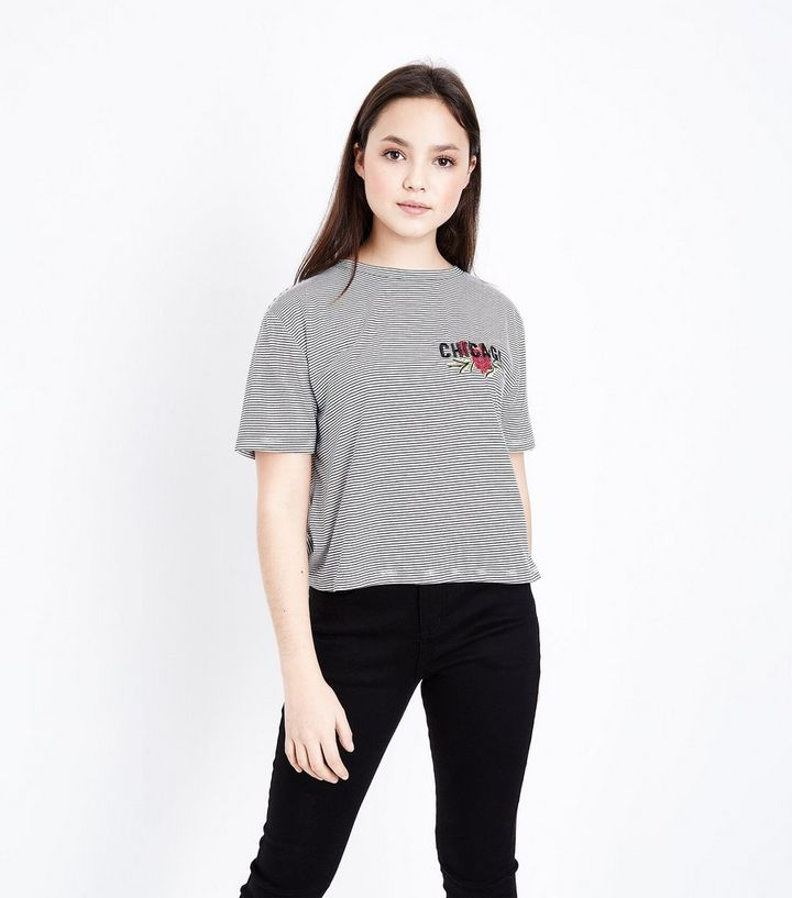 c43cba7a Girls Black Chicago Slogan Embroidered Stripe T-Shirt | New Look