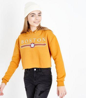 Orange Slogan Cropped Hoodie | Katch Me