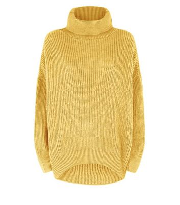 Mustard Yellow Roll Neck Oversized Jumper New Look