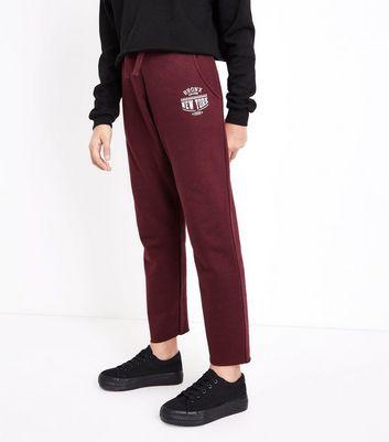 Teens Burgundy Raw Hem Joggers New Look