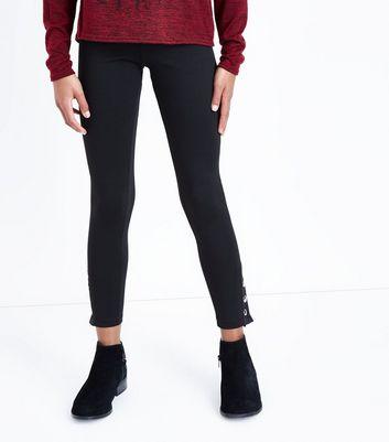 Teens Black Popper Hem Leggings New Look