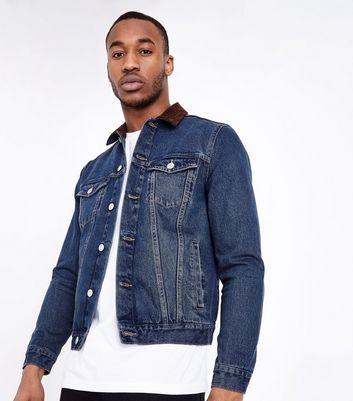 Blue Corduroy Collar Western Jacket New Look