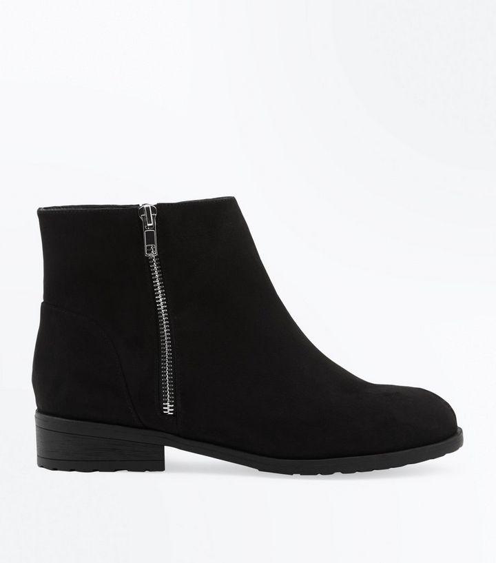 a1fe430ea425 Wide Fit Black Suedette Zip Side Ankle Boots
