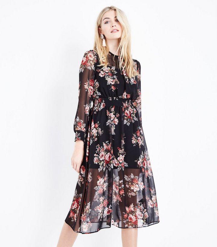 769480c5bbb4 Black Floral Print Shirred Midi Dress | New Look