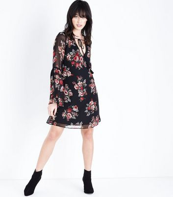 Black Floral Chiffon Tiered Sleeve Tunic Dress New Look