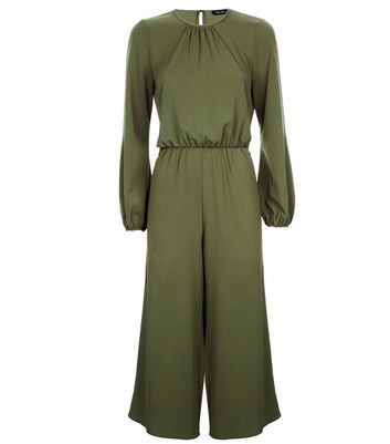 Khaki Belted Culotte Jumpsuit New Look
