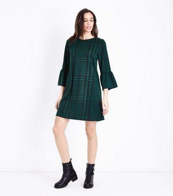 Dark Green Check Bell Sleeve Tunic Dress New Look
