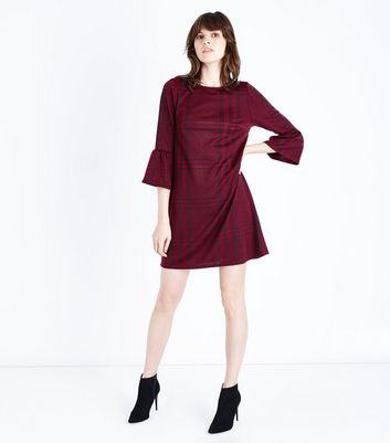 Burgundy Check Print Frill Sleeve Tunic Dress New Look