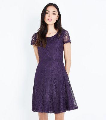Apricot Dark Purple Lace Short Sleeve Dress New Look