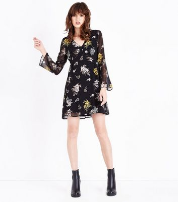 Apricot Black Floral Flare Sleeve Dress New Look