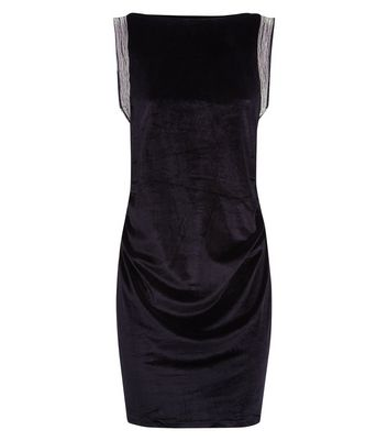Apricot Black Velvet Shoulder Embellished Dress New Look
