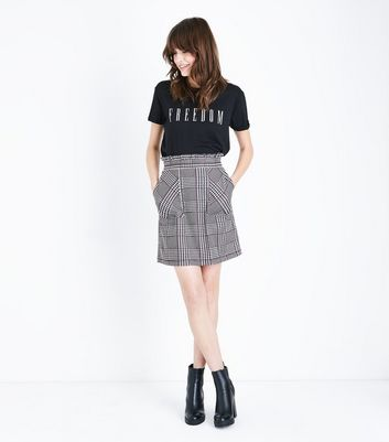 Black Check Paperbag Waist Pocket Front Skirt New Look