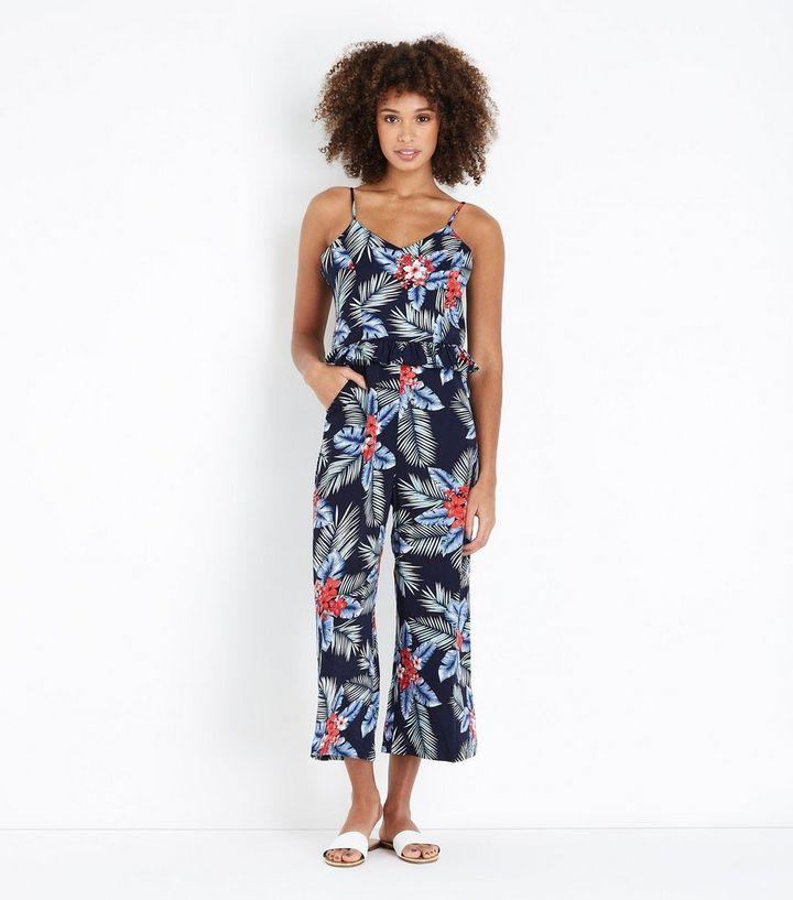 6fb0506912 Blue Vanilla Tropical Floral Print Jumpsuit