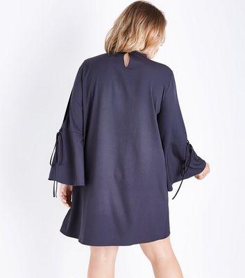 Blue Vanilla Curves Dark Grey Choker Bell Sleeve Dress New Look
