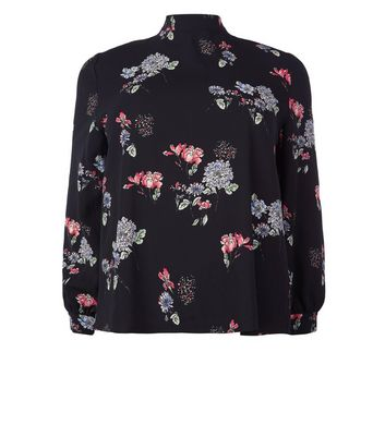 Blue Vanilla Curves Black Floral Print Blouse New Look
