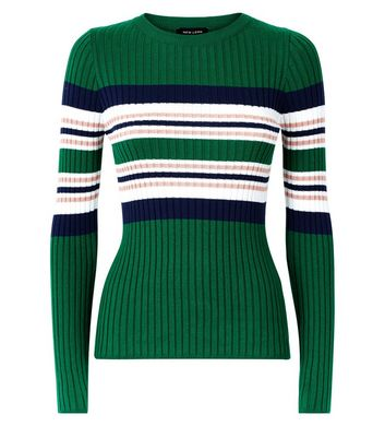 Green Stripe Ribbed Jumper New Look
