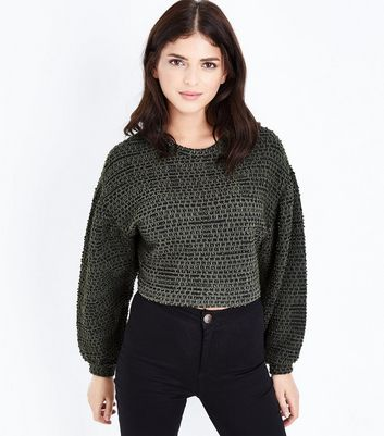Khaki Boucle Stripe Batwing Sleeve Crop Top