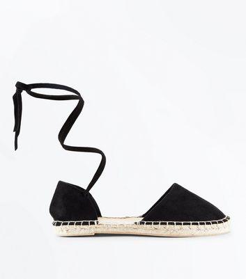 Wide Fit Black Suedette Ankle Tie Espadrilles New Look