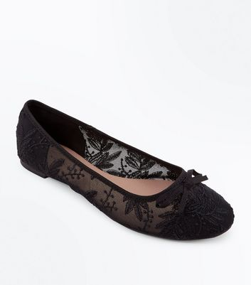 Black Sheer Lace Bow Ballet Pumps   New
