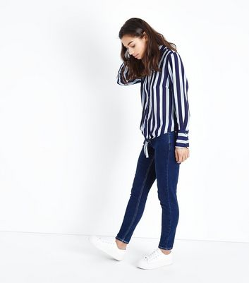 Petite Blue Stripe Tie Front Shirt New Look