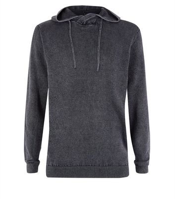Black Acid Wash Hooded Jumper New Look