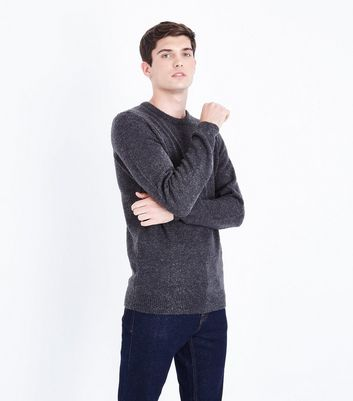 Dark Grey Boucle Jumper New Look