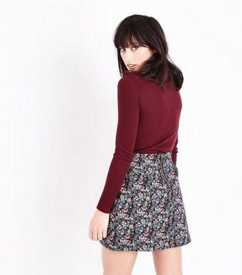 Black Floral Jacquard Mini Skirt New Look