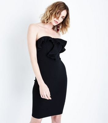 AX Paris Black Frill Trim Strapless Dress