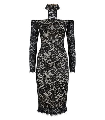 AX Paris Black Lace High Neck Midi Dress New Look