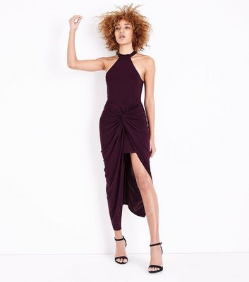 AX Paris Dark Purple Wrap Ruched Dress New Look