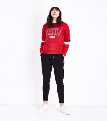 Red Seattle Print Stripe Sleeve Sweatshirt New Look