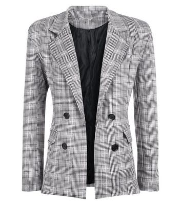 Cameo Rose Light Grey Prince of Wales Check Blazer New Look