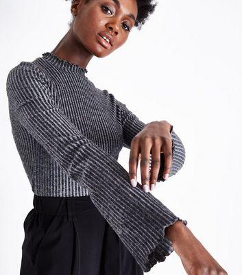 Dark Grey Brushed Rib Flare Sleeve Top New Look