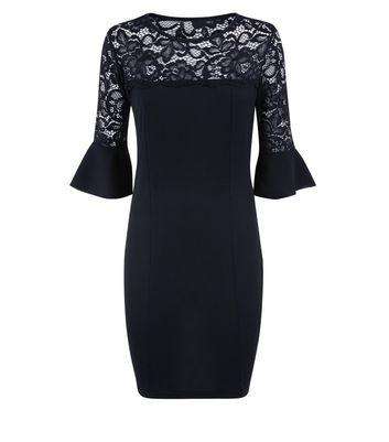 Cameo Rose Black Lace Yoke Bell Sleeve Dress New Look