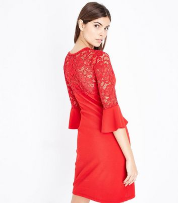 Cameo Rose Red Lace Yoke Bell Sleeve Dress New Look
