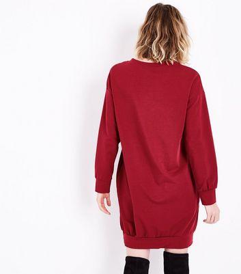 Cameo Rose Burgundy Longline Sweater Dress New Look