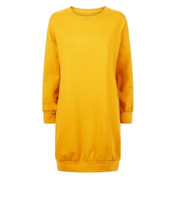 Cameo Rose Mustard Yellow Longline Sweater Dress New Look