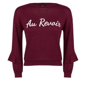 Teens Burgundy Au Revoir Sweatshirt New Look