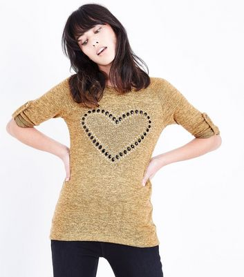 Cameo Rose Yellow Studded Heart Top New Look