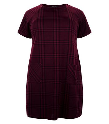 Curves Burgundy Wide Check Tunic Dress New Look
