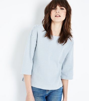Blue Stripe Print Half Sleeve T-Shirt New Look