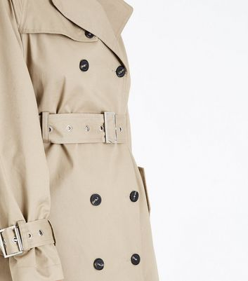 Stone Double Breasted Belted Mac New Look