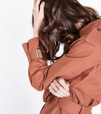 Rust Double Breasted Belted Mac New Look