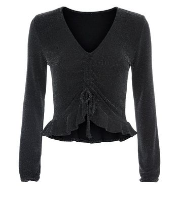 Innocence Black Glitter Ruched Front Top New Look
