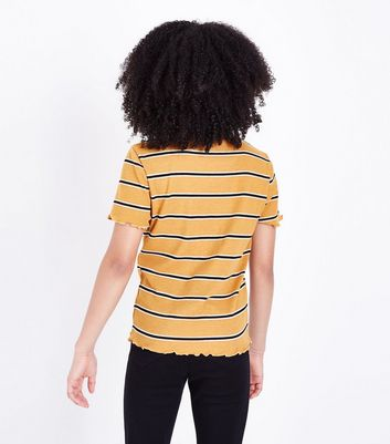 Teens Yellow Stripe Frill Edge T-Shirt New Look