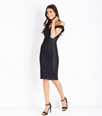 AX Paris Black Glitter Bardot Neck Midi Dress New Look