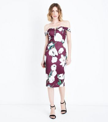 AX Paris Purple Floral Bardot Neck Midi Dress New Look
